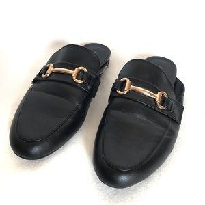 Big Buddha Black Horsebit Loafer Slide On Mules